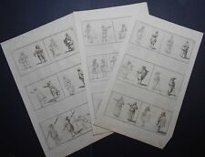 Lot of 3 Antique engravings from 1752: How-to-draw Men, Women, Figures. Shading.
