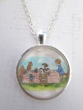 WINNIE THE POOH VINTAGE TEA PARTY SILVER PLATED COLLANA NUOVO IN BORSA REGALO