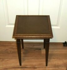 Vintage Wood Small Side Table Stand w/Metal Top 12 3/4