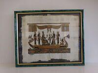 Papyrus art funéraire égyptien reproduction vintage encadré signé Afrique