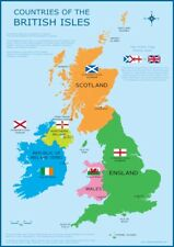 A3 UK Map Great Britain - British Isles Childrens Wall Chart Poster Classroom