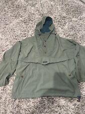 Vintage Men's Columbia Olive Drab Green Pullover Windbreaker hooded Large