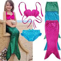 Kids Fairy Mermaid Tail Swimmable Bikini Top Bathing Suit Fancy Costume (3pcs)