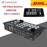 DeviceWell HDS7106 MINI Switcher 6 Channel HD Video Switcher with 4 SDI 2 HDMI
