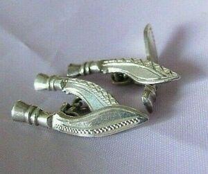Vintage Sterling Silver cufflinks Kukri Knife Gurkha Knife Peaky Blinders