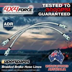 2 Front Braided LH + RH Brake Hoses Lines for Toyota Hilux KUN26 KUN25 GGN25