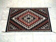 Auth.Native American Indian Navajo Two Grey Hills Wool Rug by Risa John White