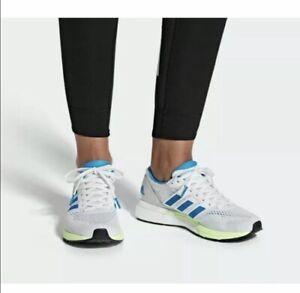 New Women?s Adidas AdiZero Boston White/Blue Athletic Running Shoes B37385