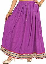 Womens Casual Wear Solid Purple Skirt Ladies Summer Wrap Around Rayon Long Skirt