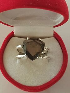 Sterling Silver Faceted Trillion Cut Smoky Quartz Ring 6Grms Sz8 Smokey Claw Set