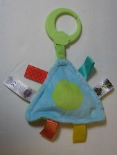 Taggies Green Plush Triangle Squeaker Boy Girl Clip Satin Tag Baby Stroller Toy