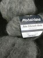 (23,80 €/100g): 25 g LG MOHAIRLANA, Fb.008 grau Langhaar-Flausch   #3388