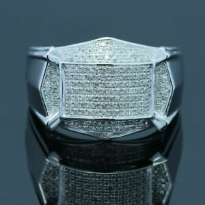 Pave Natural Diamonds Party Jewelry Engagement Wedding Man Ring Sterling Silver