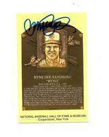 Ryne Sandberg Signed Hall Of Fame Plaque Postcard HOF 05 Autograph Chicago Cubs=