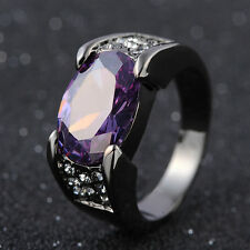Elegant 18K Black Gold Filled  Men's Rings With Solitaire CZ Amethyst  Size 8-11