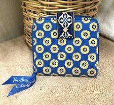 Vera Bradley Riviera Wallet Mini Zip Bifold Blue Polka Dot Quilted Cotton NWOT