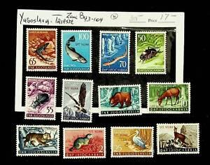 YUGOSLAVIA TRIESTE ANIMALS BIRDS FISH 12v MH CPL STAMPS SET #93-104 CV $30