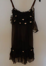 Brown with flowers baby-doll night dress transparent with string S