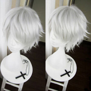 The Future Diary Akise Aru / Sakata Gintoki Short Silver Gray Cosplay Hair Wig