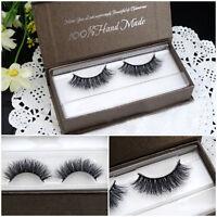 1 Pair Thick Real 3D Strip Mink Fur Long False Eyelash Makeup Eye Lashes Beauty