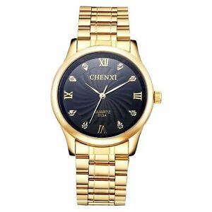 Mens Gold Watch Metal Bracelet Large Black Crystal Dial Reloj de Pulsera Gents