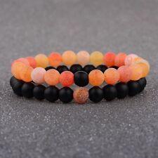 Hers Black Lava Beads Orange Agate 2Pcs New Unisex Distance Bracelet Couple His
