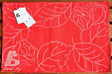 2x Red Modern Doilies, Double Layer, Embroidery, 30x46cm (12x18in) FFD033R