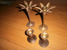 Solid Brass Metal Candlestick Holders LOT of 4 / 2 SETS Gold Color Vintage L@@K!