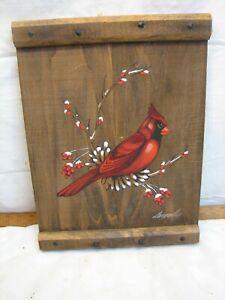 Joyce Langelier Cardinal Song Bird Painting on Wood Board Folk Art