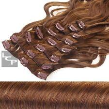 Lange Gewellte Haarverlängerungen mit Clip-in und Hellbraun