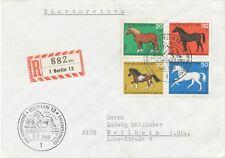 BERLIN 1969 Jugend Pferde kompletter Satz auf Pra.-FDC seltene portogerechte MiF