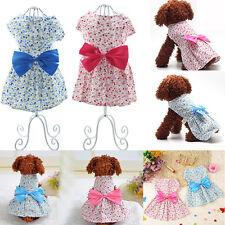 Sweet Pet Cat Dog Clothes Cute Dress Flower Cotton Puppy Apparel Coat Costume