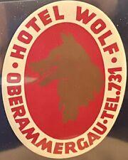 Luggage Label Hotel Wolf Oberammergau GERMANY ~ Large Golden Wolf Design