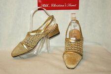 Clicks Vintage Slingback Shoes Gold Fabric Low Heel & Elegant Sz 8.5 B / M