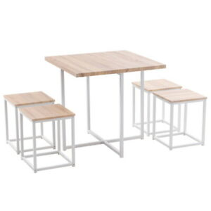 5 Piece Dining Table Set Chairs Set for 4 Light Oak Color & White Kitchen Room