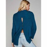 Free People Women's Lover Rib Knit Split Back Long Sleeve Teal Blue Top Sz Small