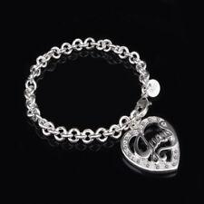 "Unique & Elegant 925 Sterling Silver Heart Guess Style 7.5"" Bracelet"