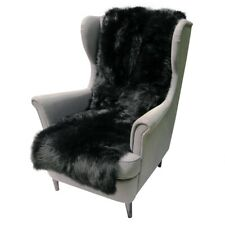 Lambskin Chair Cushion 63x19 11/16in Black Couch Cover Merino Fur Throw