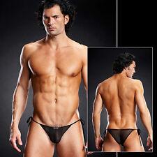 Ultra mini slip string transparent noir uni gay dans s m s/m Blue Line
