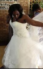 Oleg Cassini One Shoulder Tulle Wedding Dress