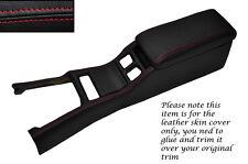 Rojo Stitch Centro Consola cover&armrest cubiertas de cuero se adapta a Toyota Supra Mk3
