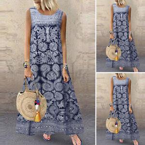 ZANZEA Women Summer Bohemia Sleeveless Retro Casual Loose Kaftan Long Maxi Dress