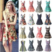 Summer Floral Print Chiffon Dress Casual Women Boho Beach Party Tunic Short Dre