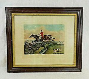 H. Alken (1785-1851) Antique, Oak-Framed, Hand-Coloured, Horse-Racing Engraving