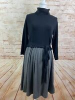 Moth Anthropologie Gray Black Turtleneck Tie Black Long Sleeve Dress Size Large