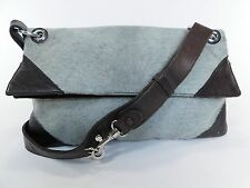 Authentic BOTTEGA VENETA Pony Hair Fur Leather Clutch Purse Shoulder Bag H59
