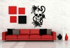 SKULL Wall Art Vinyl Sticker Decal Mural Skeleton Rose Snake Tattoo decor #635