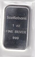 SCOTIABANK SILVER BAR 1 OZ .999 FINE SILVER FACTORY SEALED! BEAUTIFUL BAR!