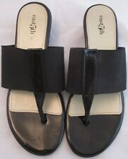 "East 5th Oyster Sandal Black Kitten 1.5"" heel Sz 9M Patent Leather Elastic Thong"