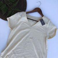 NWT J Jill Womens Shirt Pale Yellow Pima Short Sleeve V Neck Tee Petite Large